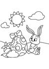 Malvorlage  Osterhase mit Osterei im Garten