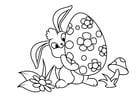 Malvorlage  Osterhase mit Osterei