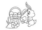 Malvorlage  Osterhase mit Osternest