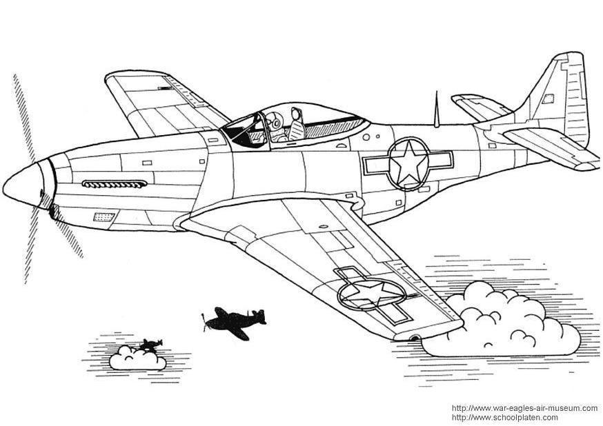 Malvorlage P 51 Mustang | Ausmalbild 3029.