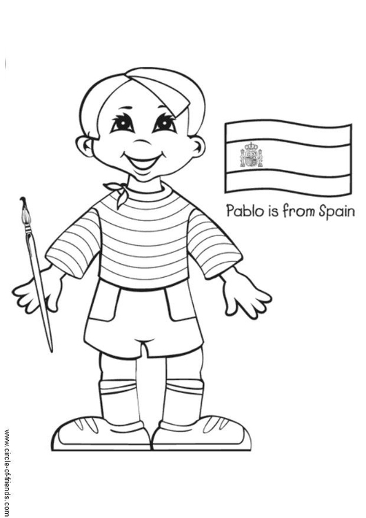 Malvorlage Pablo aus Spanien   Ausmalbild 5642.