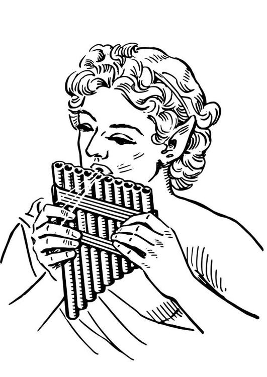 Malvorlage Pan - Panflöte | Ausmalbild 18587.
