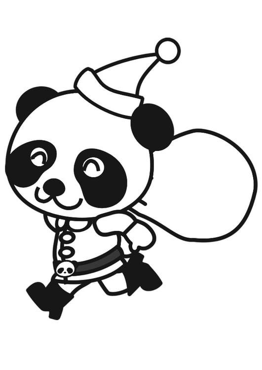 Malvorlage Panda Im Weihnachtskostüm Ausmalbild 20560