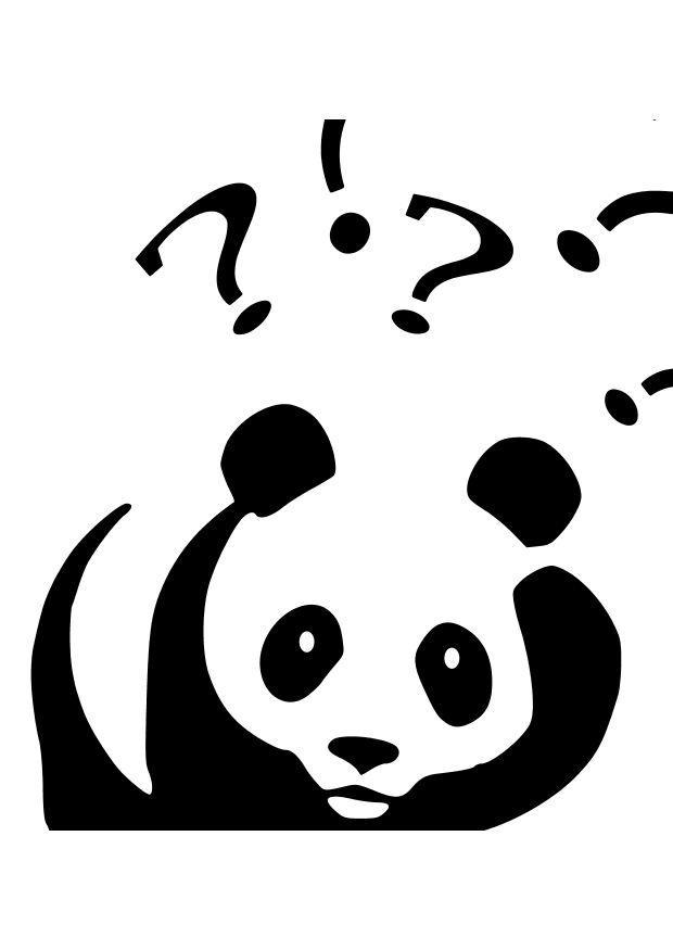 malvorlage panda stellt sich fragen  kostenlose
