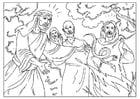 Malvorlage  Paulus wird von einer Schlange gebissen