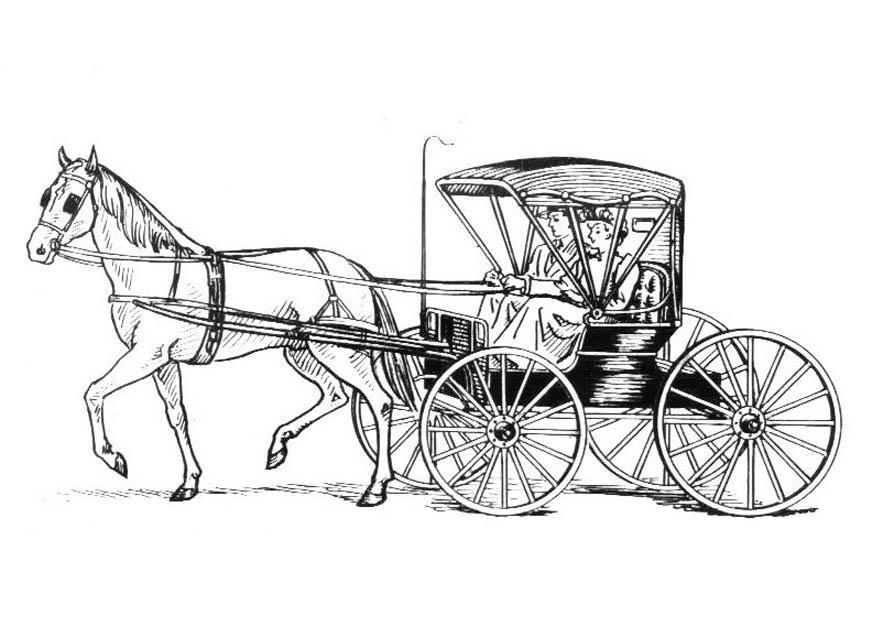 Malvorlage Pferd mit Kutsche | Ausmalbild 18982.