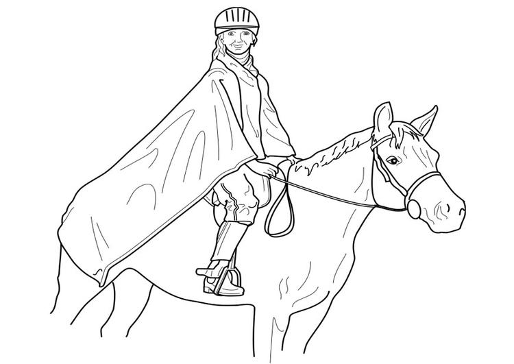 Malvorlage Pferd reiten | Ausmalbild 19099.