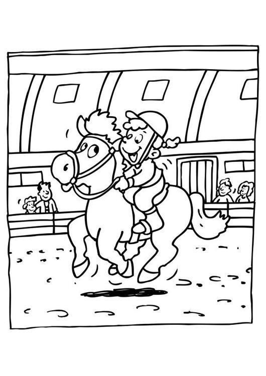 Malvorlage Pferd reiten | Ausmalbild 11995.