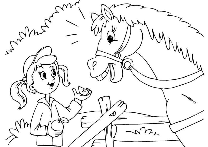 malvorlage pferd und mädchen  ausmalbild 25971