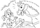Malvorlage  Pferd und Mädchen