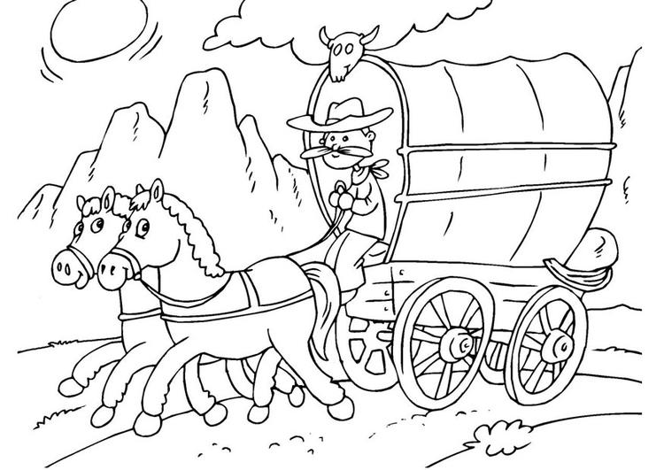 Kleurplaat Paarden Mennen Malvorlage Pferd Und Planwagen Ausmalbild 25968