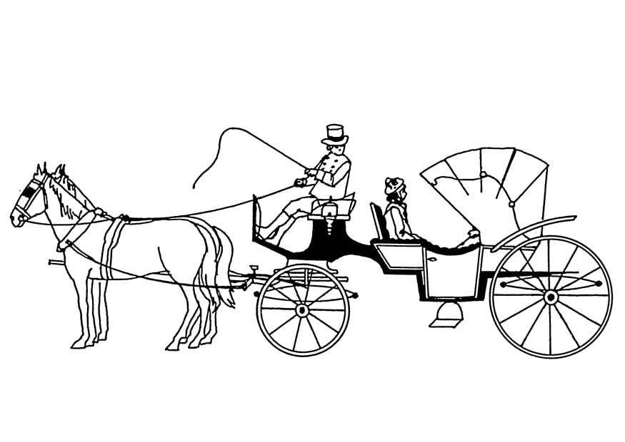 Malvorlage Pferde mit Kutsche  Ausmalbild 18880.