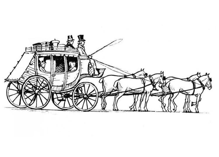 Malvorlage Pferde mit Kutsche | Ausmalbild 18980.