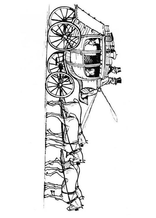 Malvorlage Pferde mit Kutsche  Ausmalbild 18980.