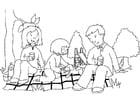 Malvorlage  Picknick