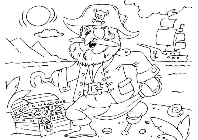 malvorlage pirat mit schatzkiste  kostenlose ausmalbilder
