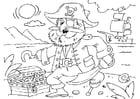 Malvorlage  Pirat mit Schatzkiste