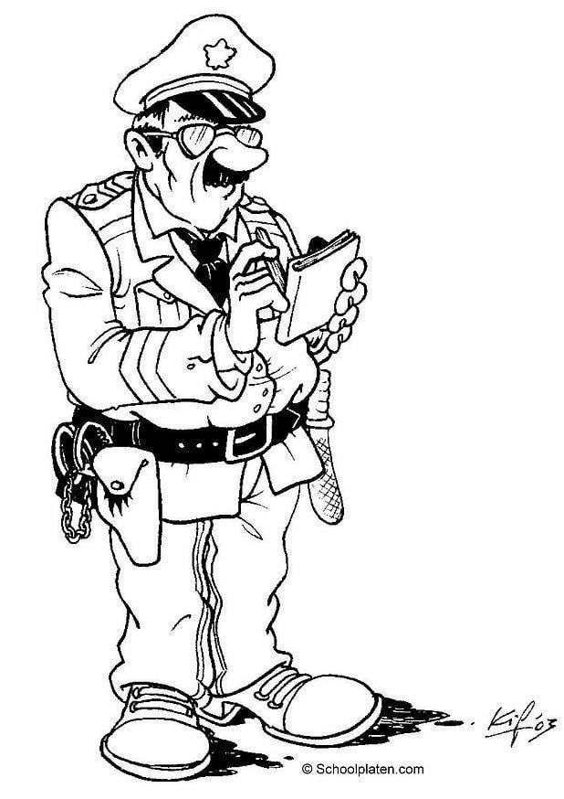 Malvorlage Polizist | Ausmalbild 3608.