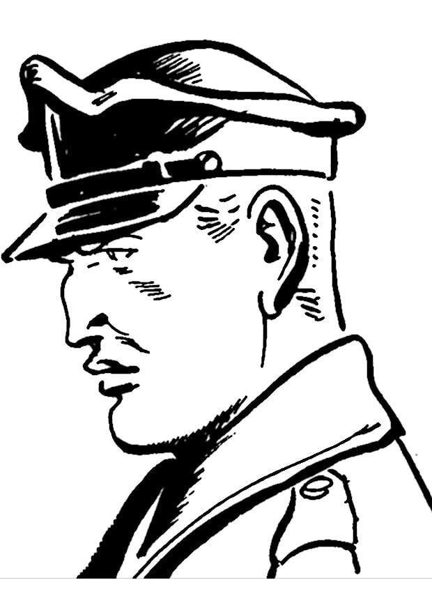 Malvorlage Polizist   Ausmalbild 9754.