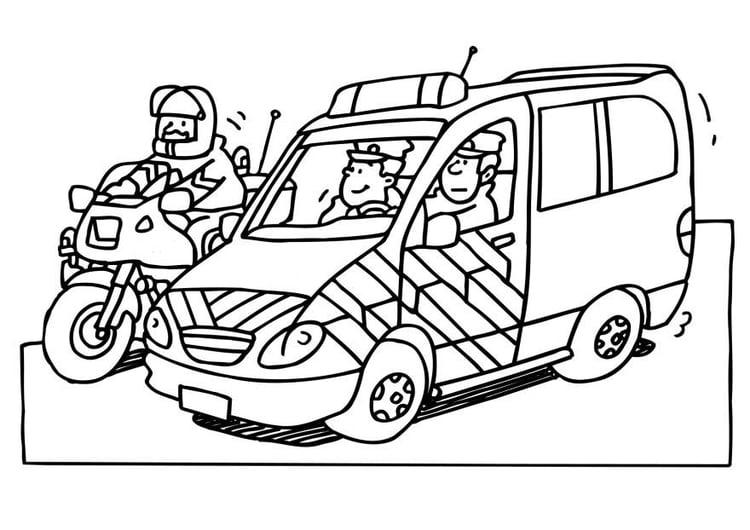 Malvorlage Polizisten | Ausmalbild 6535.
