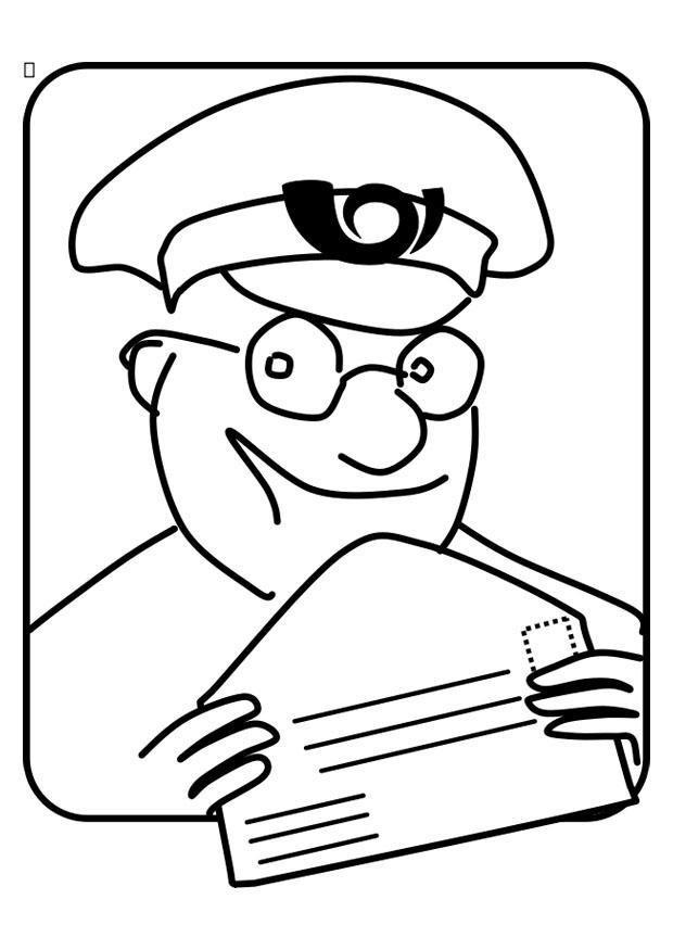 Malvorlage Postbote   Ausmalbild 22725.