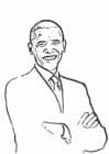 Malvorlage  Präsident Barack Obama