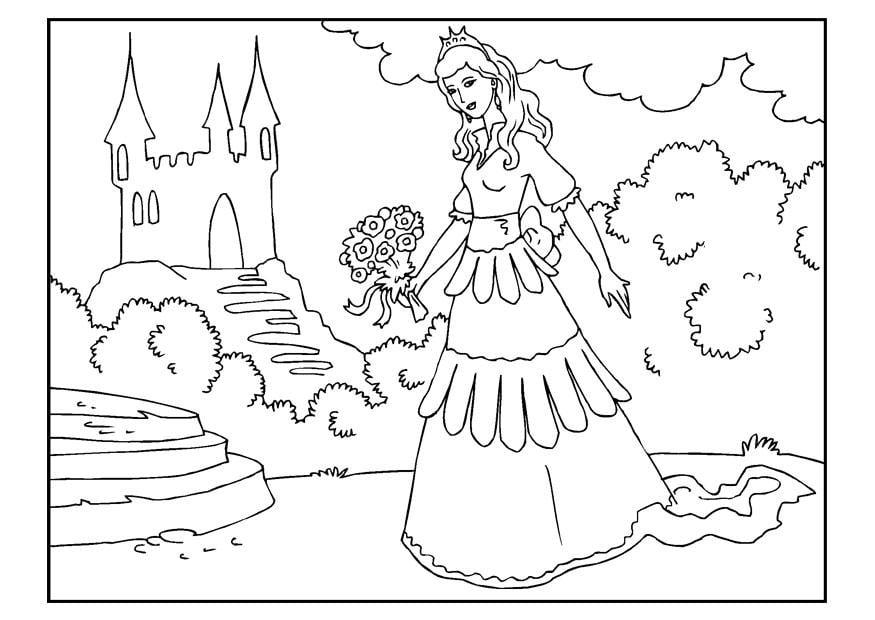 Malvorlage Prinzessin mit Blumen | Ausmalbild 22653.