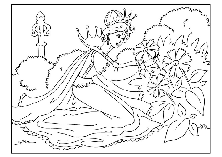 Malvorlage Prinzessin pflückt Blumen | Ausmalbild 22648.