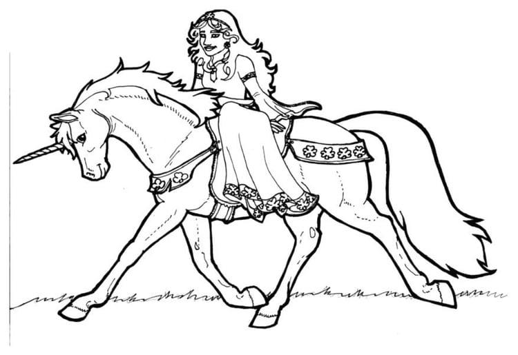 Malvorlage Prinzessin von Schamrock auf Einhorn | Ausmalbild 7136.