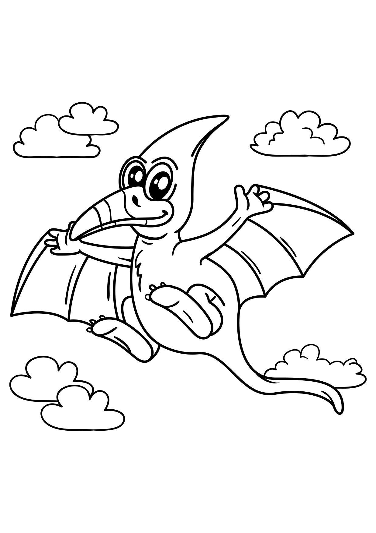malvorlage pteranodon fliegender dinosaurier  kostenlose