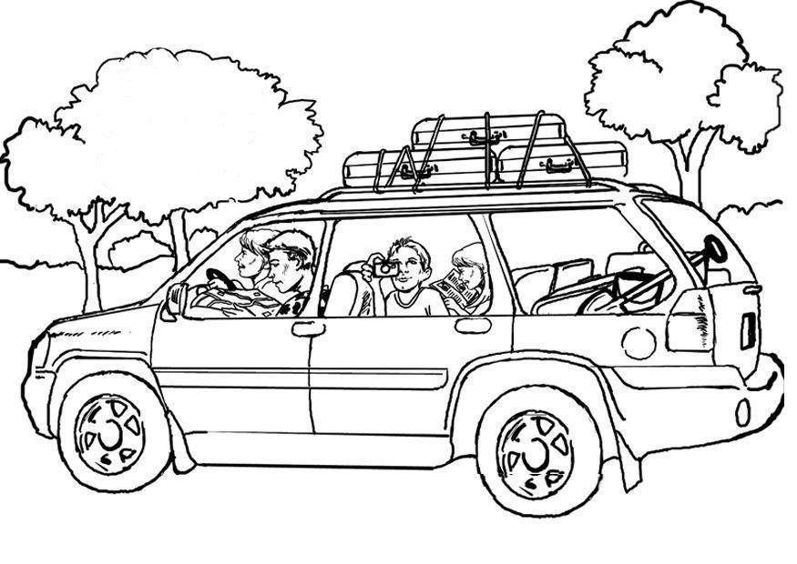 malvorlage reisen  auto  kostenlose ausmalbilder zum