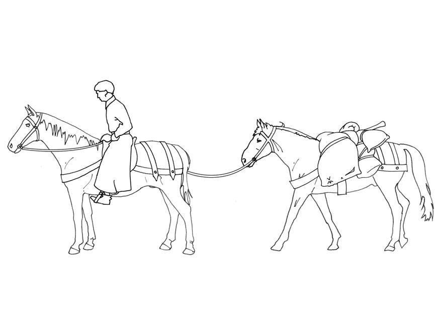 malvorlage reiter und packtier  kostenlose ausmalbilder
