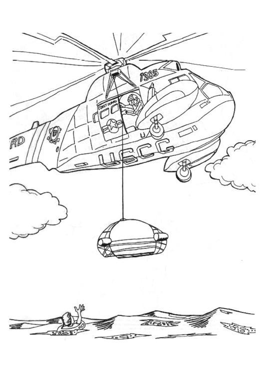 Malvorlage Rettungsaktion mit Hubschrauber