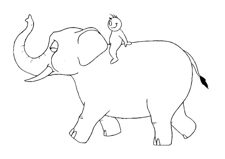 malvorlage 07b ritt auf dem elefanten  kostenlose