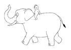 Malvorlage  07b. Ritt auf dem Elefanten