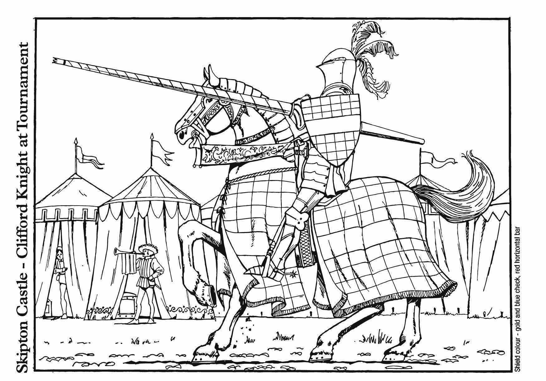 Malvorlage Ritter im Turnier | Ausmalbild 18741.