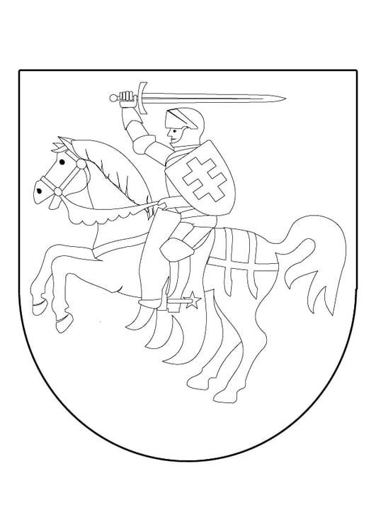 Malvorlage Ritter Zu Pferd Auf Schild Ausmalbild 9839