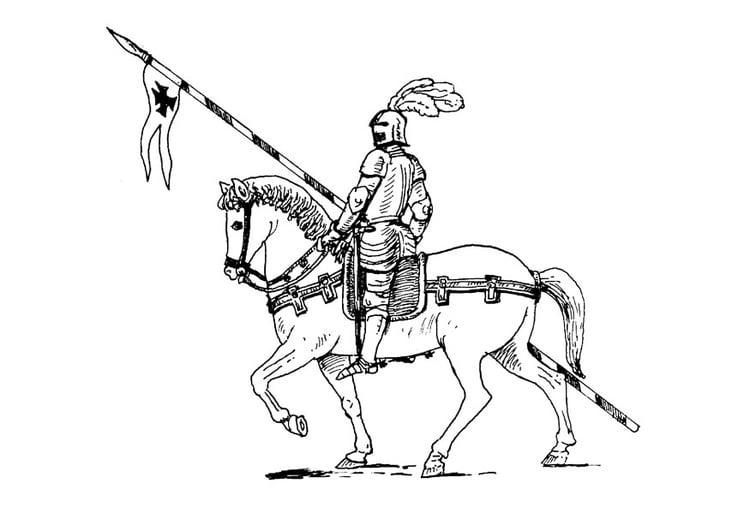Malvorlage Ritter Zu Pferd Ausmalbild 9072