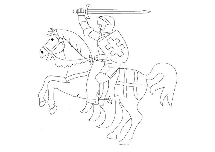 Malvorlage Ritter zu Pferd | Ausmalbild 9862.