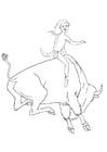 Malvorlage  Rodeo mit Bizon