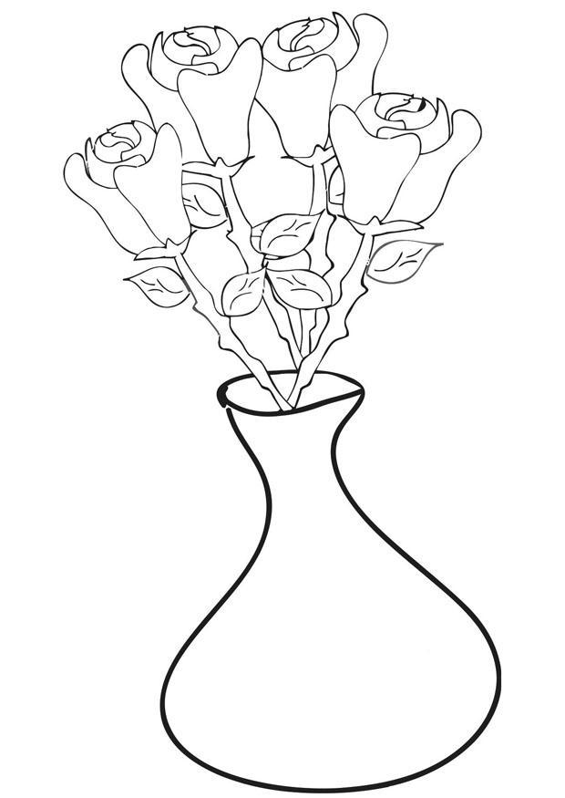 malvorlage rosen in vase  kostenlose ausmalbilder zum