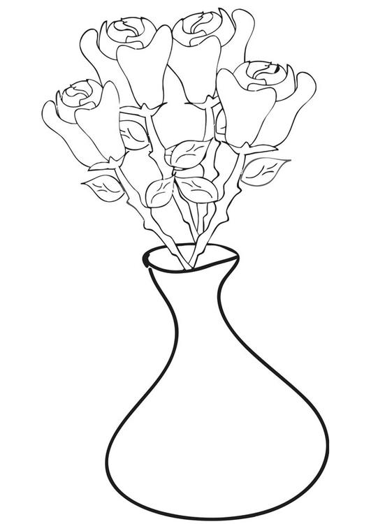 Malvorlage Rosen In Vase Ausmalbild 21257 Images