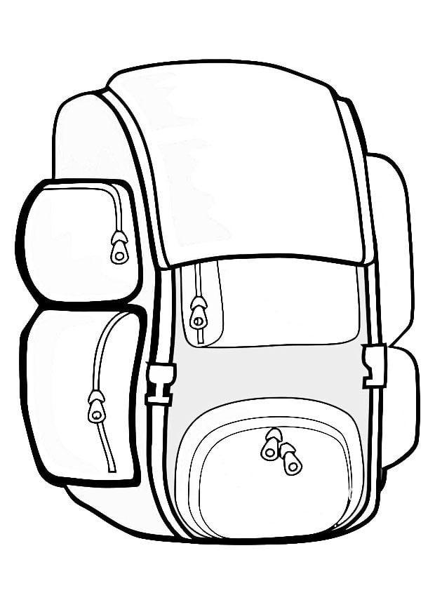 Rucksack ausmalbild  Malvorlage Rucksack | Ausmalbild 19414.