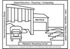 Malvorlage  Sammelplatz für getrennten Müll