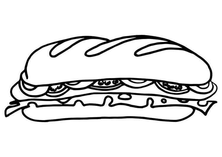 Malvorlage Sandwich | Ausmalbild 10483.