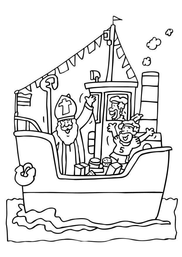 Malvorlage Sankt Nikolaus auf Boot | Ausmalbild 6544.