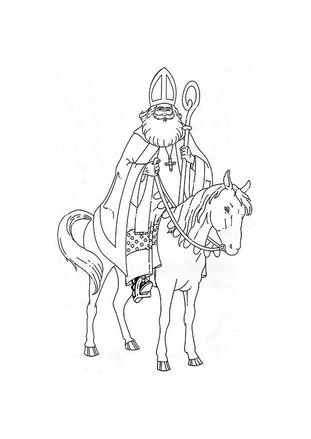 Malvorlage Sankt Nikolaus auf seinem Pferd | Ausmalbild 8881.