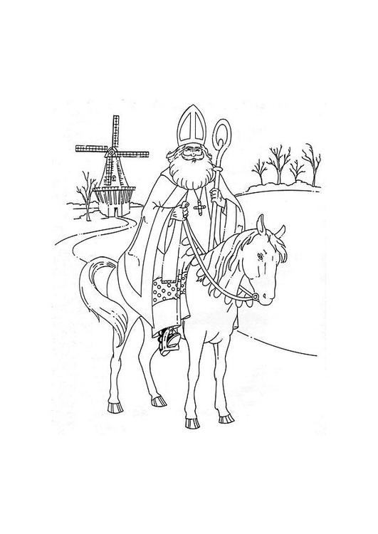 Malvorlage Sankt Nikolaus Auf Seinem Pferd Ausmalbild 8880
