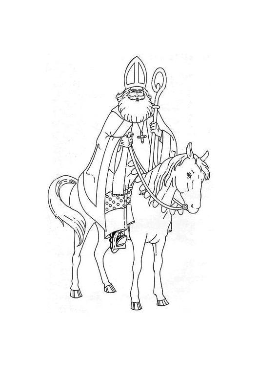 Malvorlage Sankt Nikolaus Auf Seinem Pferd Ausmalbild 8881