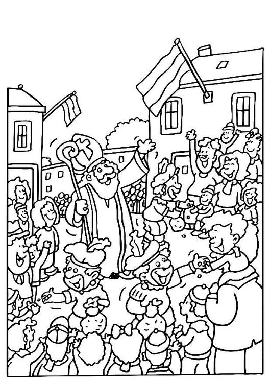 Malvorlage Sankt Nikolaus Und Helfer Ausmalbild 8187